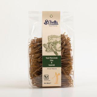 Sibella  %100 Yeşil Mercimek Unu & Ispanak (Vegan) Artizan  Makarna - Linguıne
